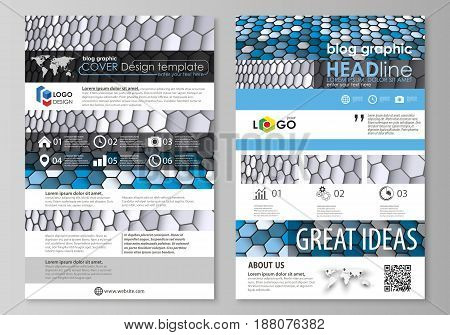 Blog graphic business templates. Page website design template, easy editable abstract vector layout. Blue and gray color hexagons in perspective. Abstract polygonal style modern background.
