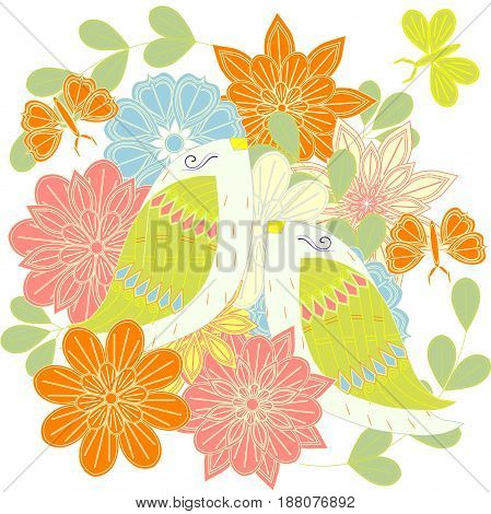 Colorful pair loving birds on flowers background, butterfly for print, for decorated, for wedding stock vector illustration