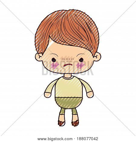 colored crayon silhouette of kawaii little boy with facial expression angry vector illustration