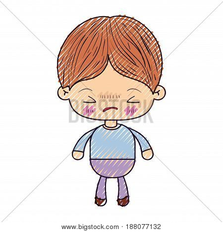 colored crayon silhouette of kawaii little boy with facial expression angry with closed eyes vector illustration