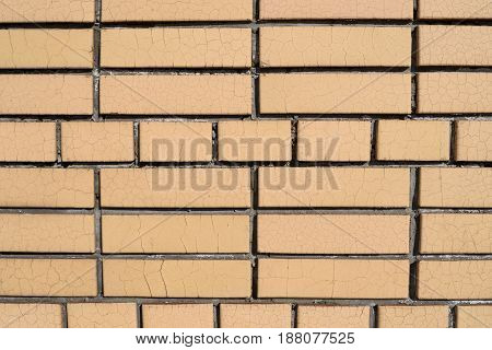 A Wall Of Bricks With Fresh Cement Joints Macro