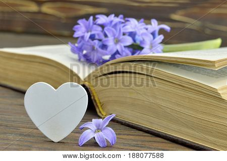 Happy Fathers Day card with hyacinth flower on the old book