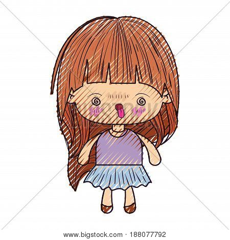 colored crayon silhouette of kawaii little girl with long hair and facial expression furious vector illustration
