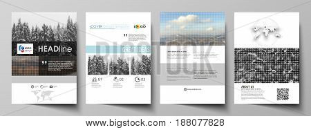 Business templates for brochure, magazine, flyer, booklet or annual report. Cover design template, easy editable vector, abstract flat layout in A4 size. Abstract landscape of nature. Dark color pattern in vintage style, mosaic texture.