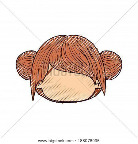 colored crayon silhouette of faceless head of little girl with double buns hairstyle vector illustration