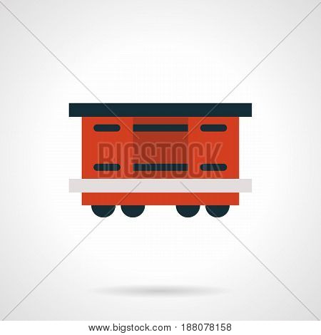 Symbol of covered red rail car with container. Railroad freight transportation. Flat style vector icon.
