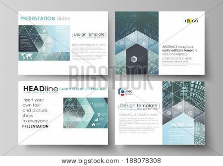 Set of business templates for presentation slides. Easy editable abstract vector layouts in flat design. Technology background in geometric style made from circles
