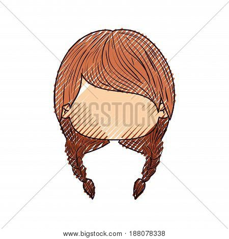 colored crayon silhouette of faceless head of little girl with two braids hairstyle vector illustration