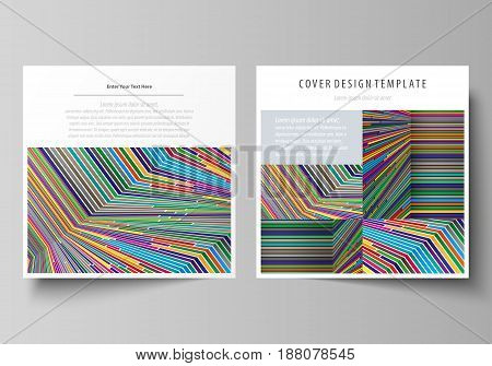 Business templates for square design brochure, magazine, flyer, booklet or annual report. Leaflet cover, abstract flat layout, easy editable vector. Bright color lines, colorful style with geometric shapes forming beautiful minimalist background.