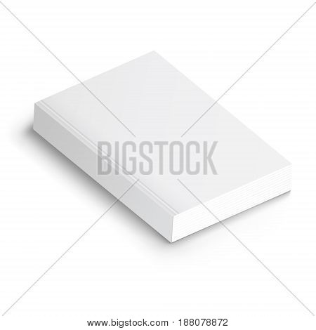 Realistic vector blank of paperback cover book. Template for your design. Grayscale Mockup on white.