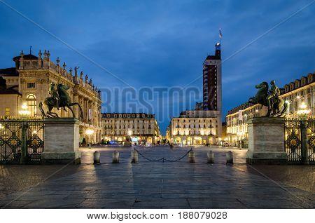 Torino Piazza Castello scenic view at twilight