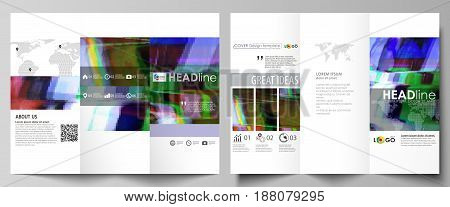 Tri-fold brochure business templates on both sides. Easy editable abstract vector layout in flat design. Glitched background made of colorful pixel mosaic. Digital decay, signal error, television fail.