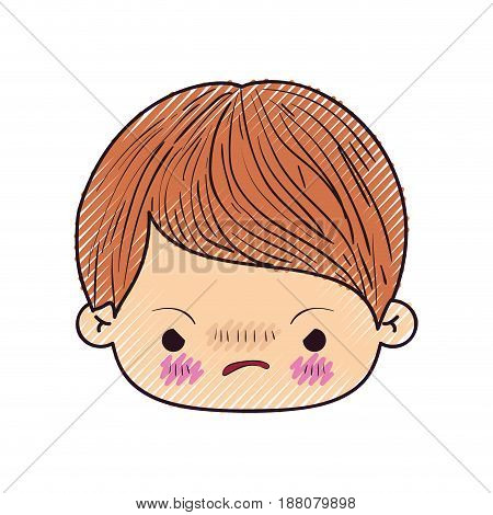 colored crayon silhouette of kawaii head of little boy with facial expression angry vector illustration