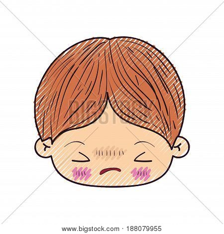 colored crayon silhouette of kawaii head of little boy with facial expression angry with closed eyes vector illustration