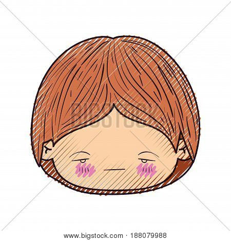 colored crayon silhouette of kawaii head of little boy with facial expression nervous vector illustration