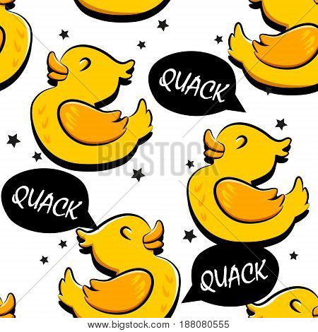 Seamless pattern with cartoon duck and stars. Ornament for children's textiles and wrapping. Comics style. Vector background.
