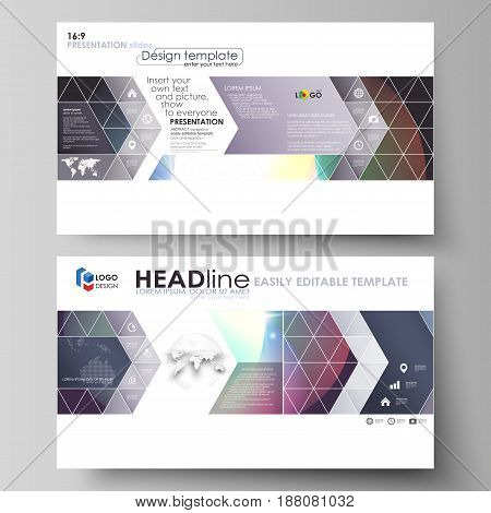 Business templates in HD format for presentation slides. Easy editable abstract vector layouts in flat design. Retro style, mystical Sci-Fi background. Futuristic trendy design.