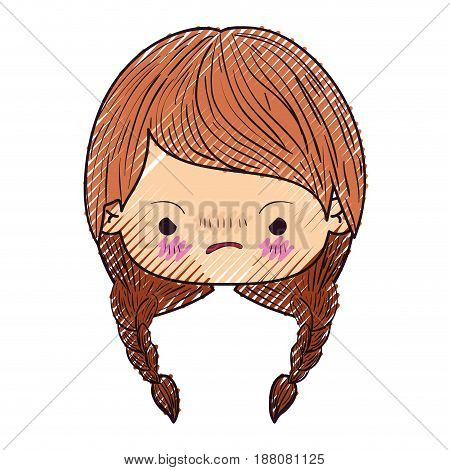 colored crayon silhouette of kawaii head little girl with braided hair and facial expression angry vector illustration