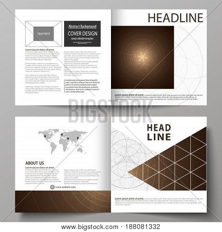 Business templates for square design bi fold brochure, magazine, flyer, booklet or annual report. Leaflet cover, abstract flat layout, easy editable vector. Alchemical theme. Fractal art background. Sacred geometry. Mysterious relaxation pattern.
