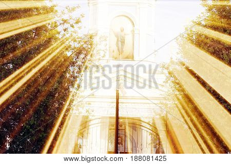 The magic church. Composition of the church and the rays. Architecture