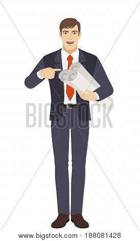 Businessman pointing at a project plans. Full length portrait of businessman character in a flat style. Vector illustration.