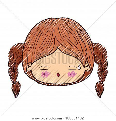 colored crayon silhouette of kawaii head little girl with braided hair and facial expression tired vector illustration