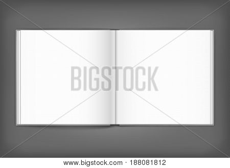 Vector blank of open magazine on neutral grey background. Square format. Using mesh. Template