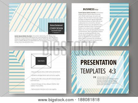 Set of business templates for presentation slides. Easy editable abstract vector layouts in flat design. Minimalistic design with lines, geometric shapes forming beautiful background.