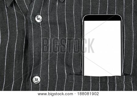Closeup confident business man wearing elegant suit and mobile phone smartphone with white screen and empty space at pocket
