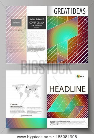 Business templates for bi fold brochure, magazine, flyer, booklet or annual report. Cover design template, easy editable vector, abstract flat layout in A4 size. Minimalistic design with circles, diagonal lines. Geometric shapes forming beautiful retro ba