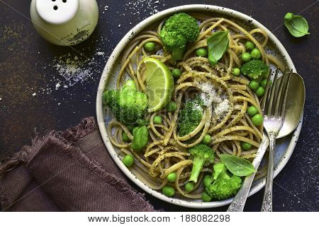 Wholewheat Organic Pasta With Green Vegetables.top View.