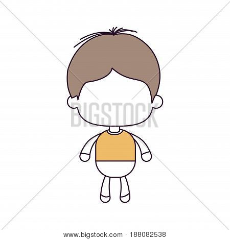 silhouette color sections and light brown hair of faceless little boy with disheveled hair vector illustration