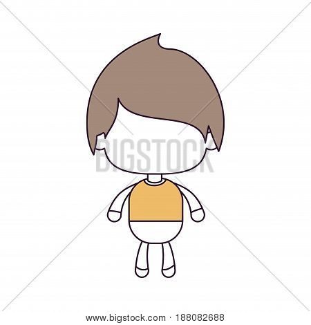 silhouette color sections and light brown hair of faceless little boy with straight hair vector illustration