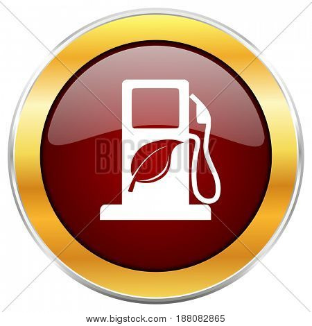 Biofuel red web icon with golden border isolated on white background. Round glossy button.