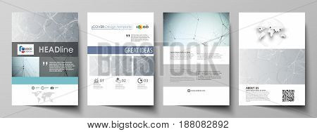Business templates for brochure, magazine, flyer, booklet or annual report. Cover design template, easy editable vector, abstract flat layout in A4 size. Chemistry pattern, connecting lines and dots, molecule structure, scientific medical DNA research.
