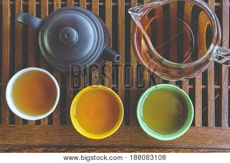 Set for Chinese tea ceremony, top view