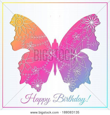 Happy birthday card with butterfly gradient vector