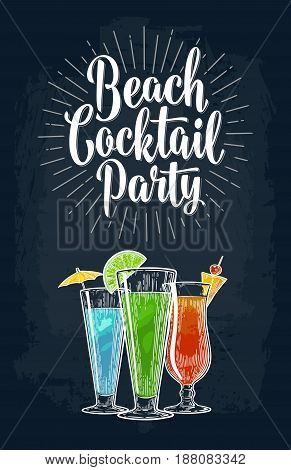 Green, blue and red cocktail with slice lime, lemon and umbrella. Vintage vector engraving illustration with lettering. Isolated on dark background. For poster, menu, invitation to summer beach party.