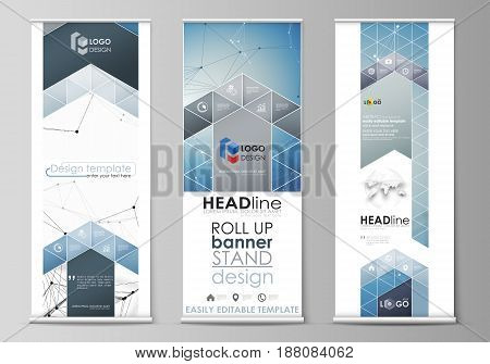 Set of roll up banner stands, flat design templates, abstract geometric style, modern business concept, corporate vertical vector flyers, flag layouts. Geometric blue color background, molecule structure, science concept. Connected lines and dots.