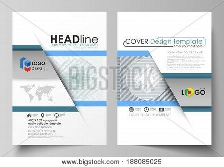Business templates for brochure, magazine, flyer, booklet or annual report. Cover design template, easy editable vector, abstract flat layout in A4 size. Minimalistic background with lines. Gray color geometric shapes forming simple beautiful pattern.