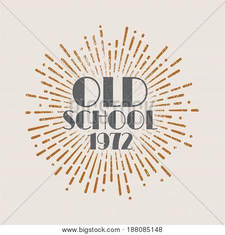 Vintage sunburst abstract retro label Old school. Vector illustration