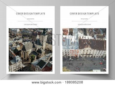 Business templates for brochure, magazine, flyer, booklet or annual report. Cover design template, easy editable vector, abstract flat layout in A4 size. Colorful background made of dotted texture for travel business, urban cityscape.