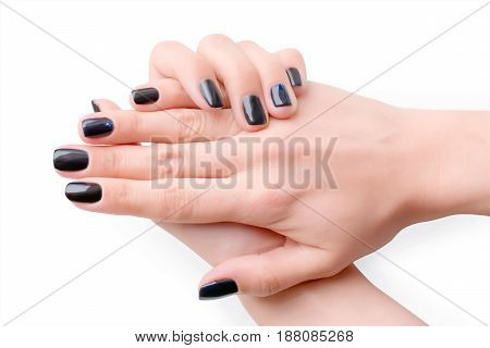 Woman hands with black manicure. Isolated on white clipping path included