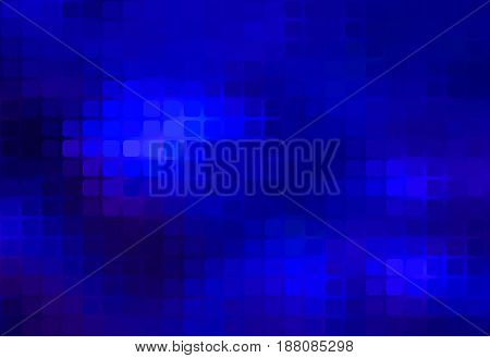 Dark blue vector abstract rounded corners square tiles mosaic over blurred background
