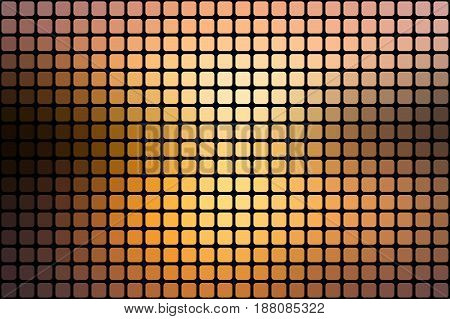 Yellow coral pink black vector abstract mosaic background with rounded corners square tiles over black