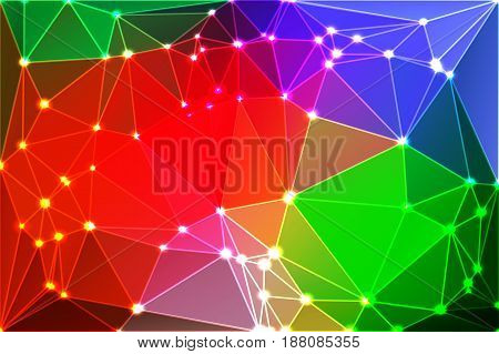 Green blue orange red abstract low poly geometric background with white triangle mesh and defocused lights.