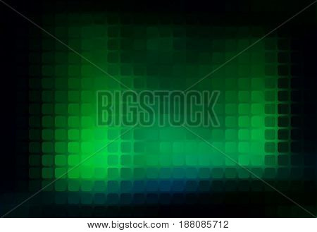 Glowing neon green vector abstract rounded corners square tiles mosaic over blurred background