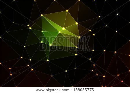 Green brown yellow black abstract low poly geometric background with white triangle mesh and defocused lights.