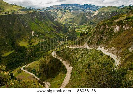 Dry canyons in countryside around Quilotoa volcano, Ecuador