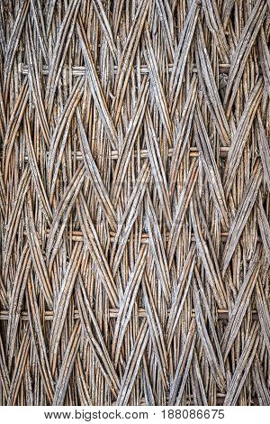 Background, Texture Of Wicker Dry Branches, On The Whole Frame. Vertical Frame